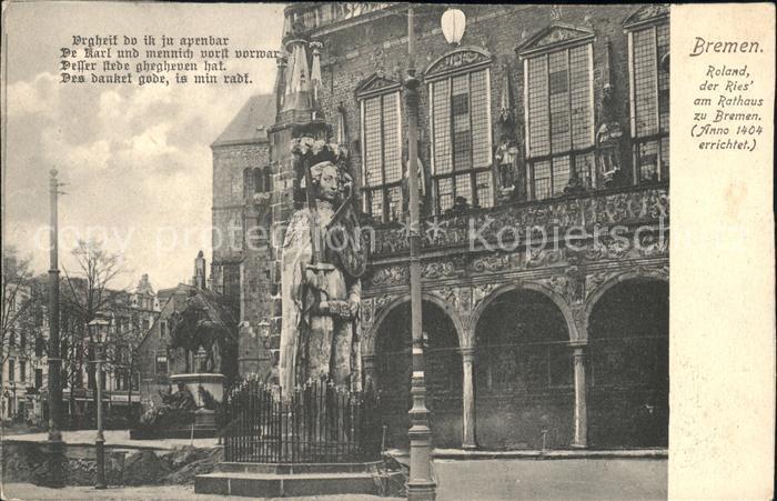 Bremen Roland der Ries am Rathaus Kat. Bremen