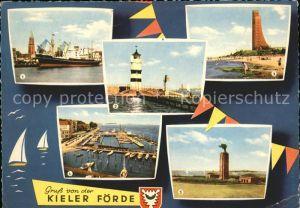 Kiel Kieler Foerde Hafen Rathausturm Friedrichsorter Leuchtturm Marine Ehrenmal Laboe Olympiahafen U Boot Ehrenmal Moeltenort  Kat. Kiel