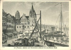 Frankfurt Main Fahrtor und Rententurm waehrend der Frankfurter Messe Boot Kuenstlerkarte J. J. Tanner Kat. Frankfurt am Main