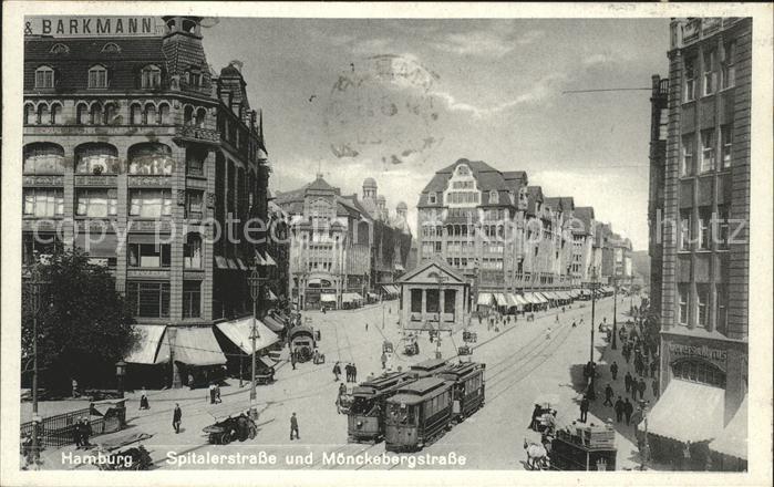 Hamburg Spitalerstrasse u.Moenckebergstrasse mit Strassenbahnen Kat. Hamburg