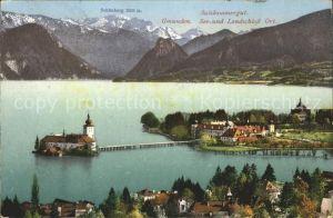 Gmunden Salzkammergut Ortsansicht mit Schloss Ort am Traunsee Schoenberg Kat. Gmunden