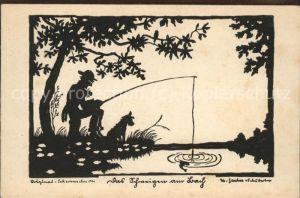 Scherenschnitt Schattenbildkarte angeln Angler Hund Fisch  / Besonderheiten /