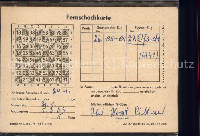 Schach Fernschachkarte / Spiel /