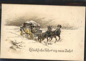 Neujahr Postkutsche Neujahr / Greetings /