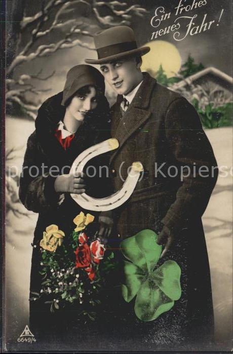 Hufeisen Frohes neues Jahr Rosen Kleeblatt / Greetings / Nr. hd09714 ...