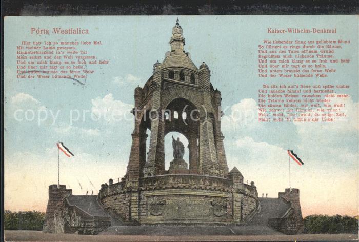 Wilhelm II Kaiser-Wilhelm-Denkmal Spruch Porta Westfalica / Persoenlichkeiten /