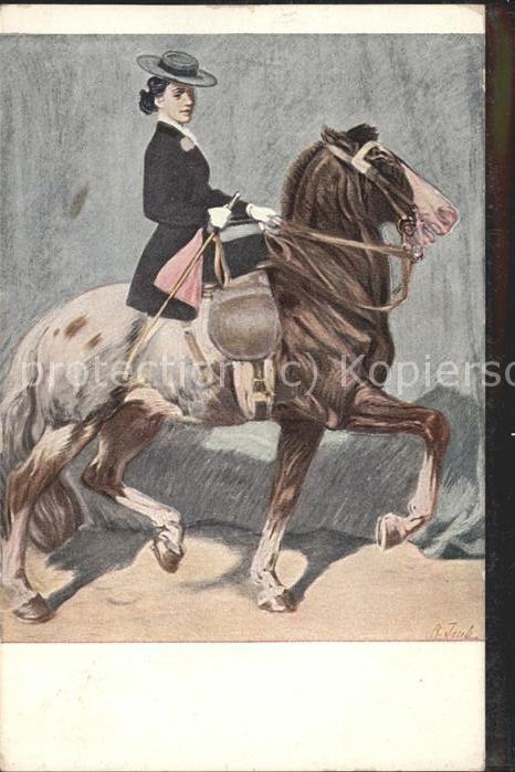 Jugendstil Pferd Frau Hut / Kuenstlerkarte /