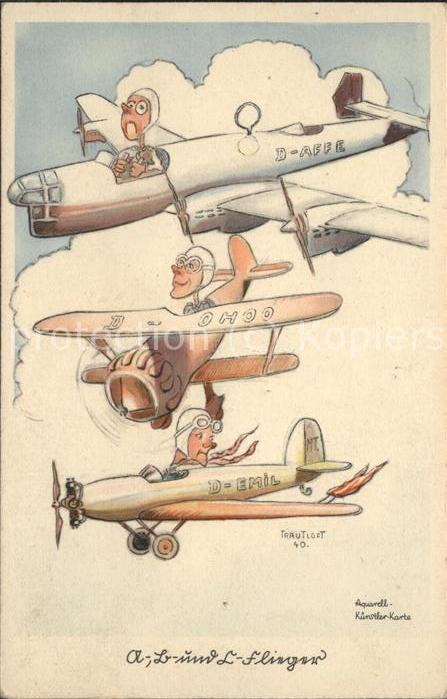Humor Flugzeug Flieger-Humor Kuenstlerzeichnung  / Humor /