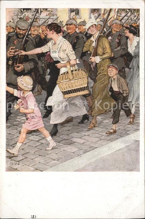 Wennerberg Brynolf Nr. 7 Kriegspostkarte Ausmarsch / Kuenstlerkarte /