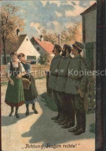 Militaria Humor Achtung Augen rechts Soldaten Frauen / Humor /
