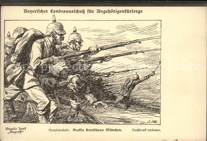 Kuenstlerkarte Angelo Jank Angriff Kunsthaus Muenchen Sodlaten / Kuenstlerkarte /