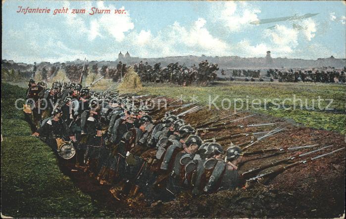 Militaria WK1 Infanterie geht zum Sturm vor Soldaten Schuetzengraben / WK1 /