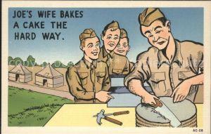 Militaria Humor Joes Wife Bakes A Cake the Hard Way / Humor /