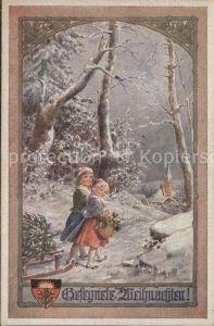 Kuenstlerkarte Kraemle Frohe Weihnachten Kinder Schlitten / Kuenstlerkarte /