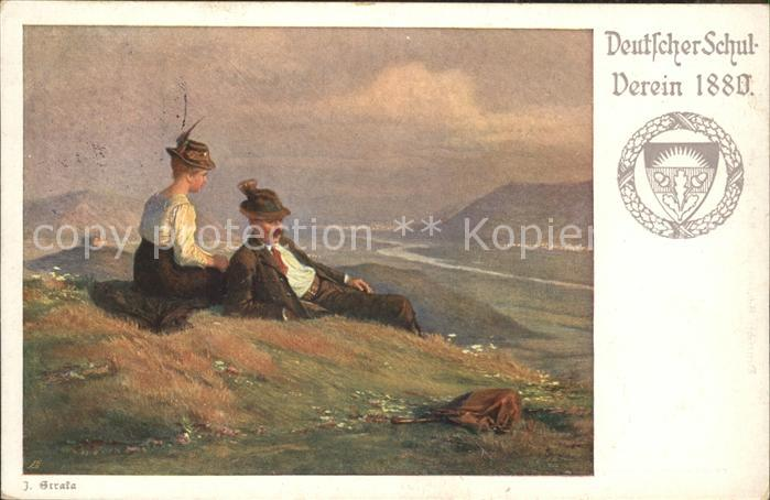 Kuenstlerkarte J. Strala Deutscher Schulverein 1880 Wanderer / Kuenstlerkarte /