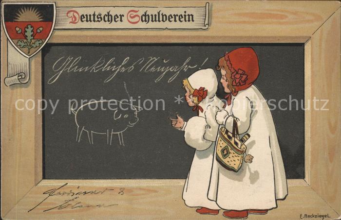 Kuenstlerkarte E. Reckziegel Kinder Wappen Schwein Tafel / Kuenstlerkarte /