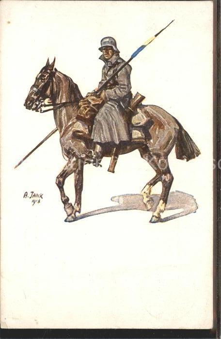 Kuenstlerkarte A. Jank Pferd Soldat / Kuenstlerkarte /