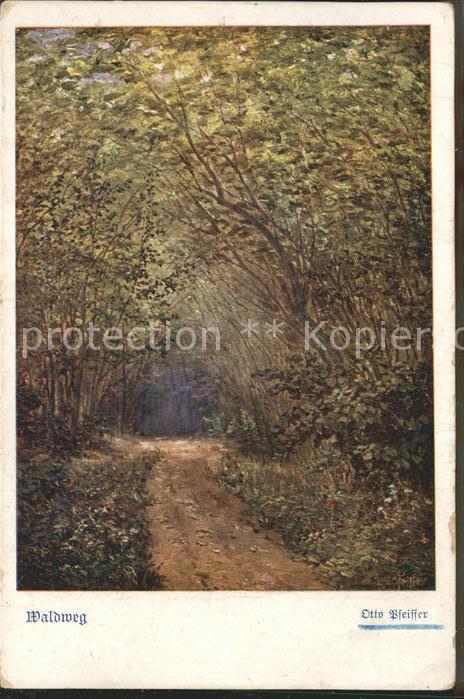 Kuenstlerkarte Otto Pfeiffer Waldweg / Kuenstlerkarte /