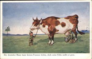 Kindersoldaten Kuh melken Ad. Hoffmann Nr. 4916 Fedpost  Kat. Humor