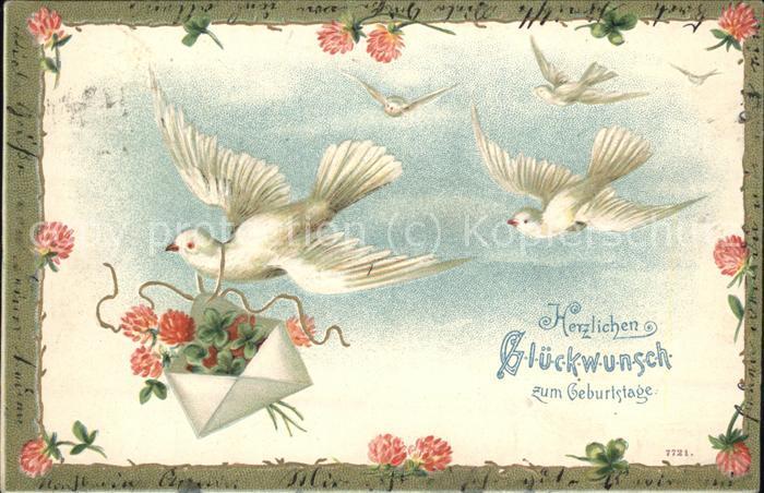 Brieftaube Geburtstag Blumen Kat Tiere Nr Kk77114 Oldthing