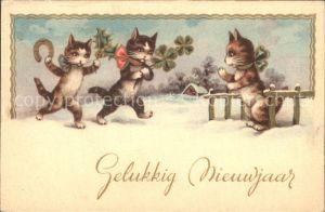 Katzen vermenschlicht Kleeblatt Neujahr Hufeisen Kat. Tiere