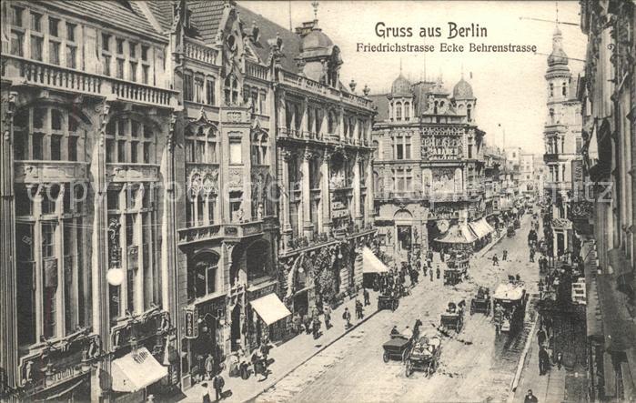Berlin Friedrichstrasse Ecke Behrenstrasse Pferdewagen Strassenbahn Kat. Berlin