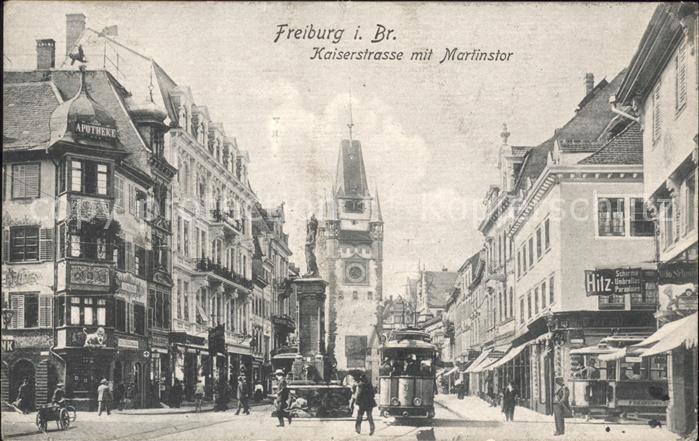Freiburg Breisgau Kaiserstrasse Martinstor Strassenbahn Kat. Freiburg im Breisgau