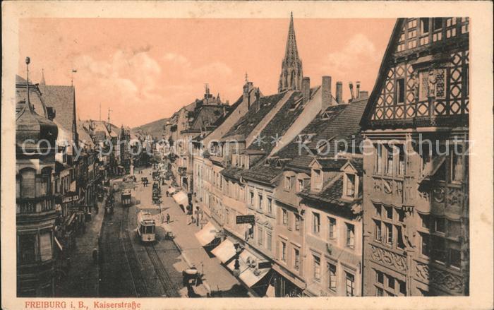 Freiburg Breisgau Kaiserstrasse Strassenbahn Kat. Freiburg im Breisgau