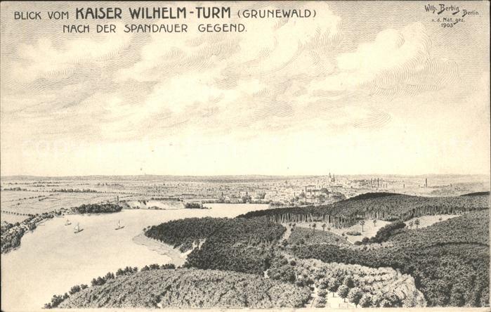 Grunewald Berlin Blick vom Kaiser Wilhelm Turm Kat. Berlin