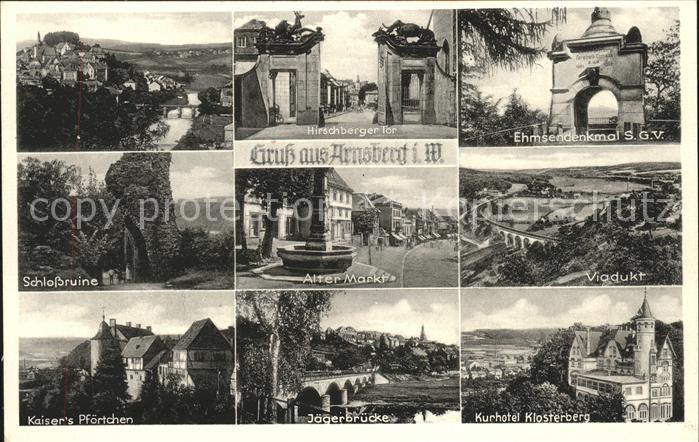 Arnsberg Westfalen Viadukt Kurhotel Klosterberg Jaegerbruecke Ehmsdenkmal Kat. Arnsberg
