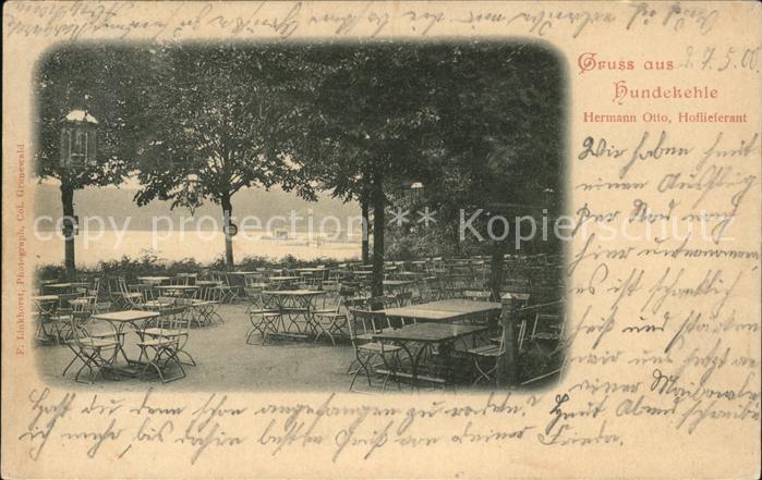 Grunewald Berlin Hundekehle Seerestaurant Terrasse Hermann Otto Hoflieferant Kat. Berlin