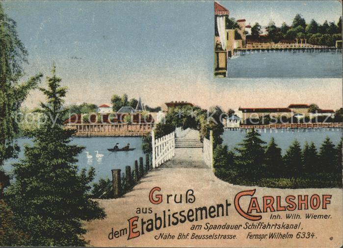 Berlin Etablissement Carlshof Spandauer Schifffahrtskanal Kat. Berlin