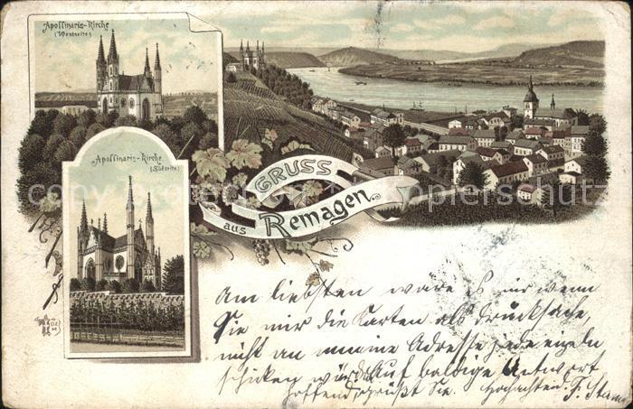 Remagen Teilansicht mit Apollinaris Kirche Rhein Kat. Remagen