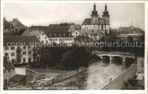 Donaueschingen Partie bei der Schuetzenbruecke Kirche Kat. Donaueschingen