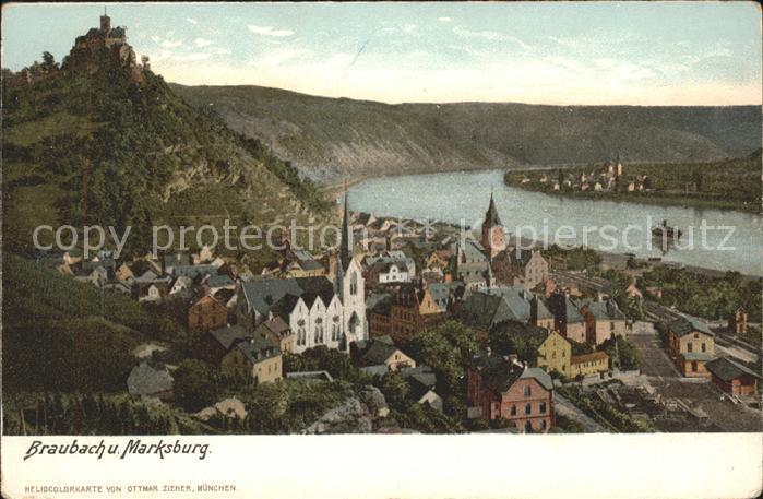 Braubach Rhein Marksburg Heliocolorkarte Ottmar Zieher / Braubach /Rhein-Lahn-Kreis LKR
