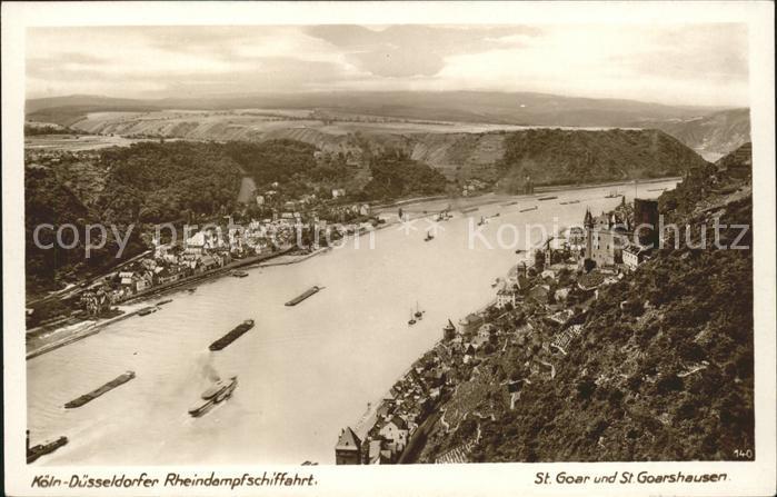 St Goar Rhein Panorama mit St. Goarshausen Kat. Sankt Goar