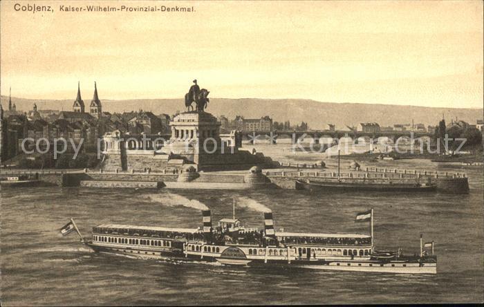 Koblenz Rhein Kaiser Wilhelm Denkmals Daampfer Kat. Koblenz