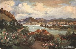 Rolandseck Rhein Panorama Drachenfels Kuenstlerkarte Kat. Remagen