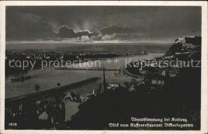 Koblenz Rhein Rhein Panorama am Abend Kat. Koblenz