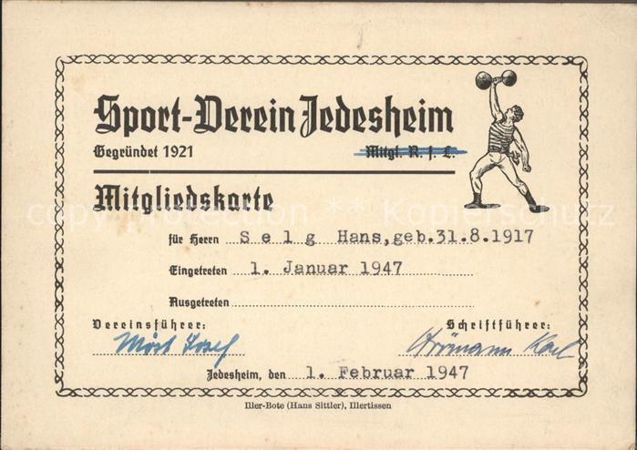 Jedesheim Mitgliedskarte Sportverein Kat. Illertissen