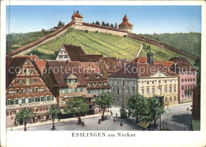 Esslingen Neckar Marktplatz mit Burg Kuenstlerkarte Kat. Esslingen am Neckar