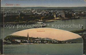 Koblenz Rhein Panorama vom Rhein Pfaffendorf Kat. Koblenz