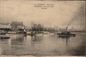 Koblenz Rhein Panorama vom Rhein Schiffe Kat. Koblenz