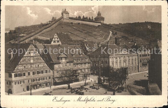 Esslingen Neckar Marktplatz mit Burg Kat. Esslingen am Neckar