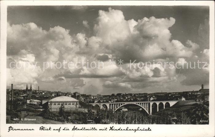 Pirmasens Blick auf Stadtmitte mit Hindenburgbruecke Schuhmetropole Kat. Pirmasens