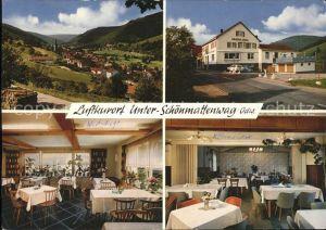 Unterschoenmattenwag Ortsansicht mit Gasthaus Zur Goldenen Krone Gastraum Kat. Wald Michelbach