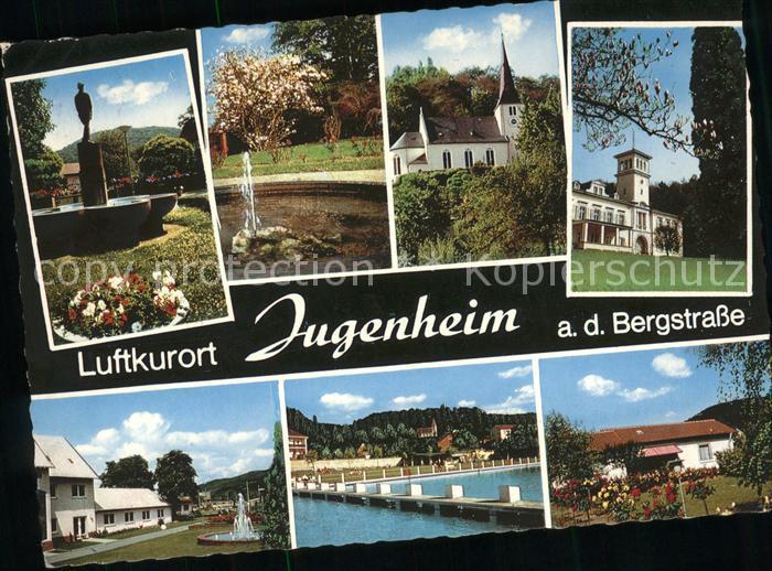Jugenheim Seeheim Jugenheim Brunnen Kirche Schwimmbad Teilansichten Kat. Seeheim Jugenheim Bergstrasse