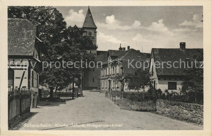 Scherzheim Kirche Schule Kriegerdenkmal Kat. Lichtenau