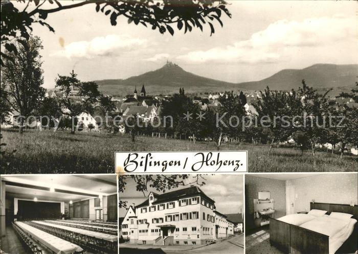 Bisingen Gasthof Hohenzollern Ortsansicht mit Burg Hohenzollern Kat. Bisingen
