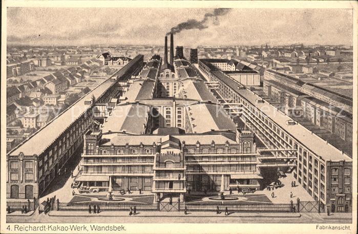 Wandsbek Reichardt Kakao Werk Fabrikansicht total Kat. Hamburg